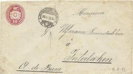 1871 10 Rp. Tüblibrief Bahnpoststempel Lausanne -  Berne Nach Interlakten - Ganzsachen