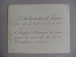 Invito Ambassadeur De Turquie Per Il Conte Di Santarosa (Santa Rosa) - Vieux Papiers