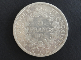 1874 A - 5 Francs Argent Hercule - ECU - J. 5 Franchi