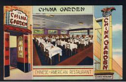 RB 952 -  Early USA Postcard - China Garden Restaurant 136 West 50th Street - New York - Buy US Bonds Slogan - New York City