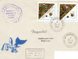 Pli Avec 2 Valeurs Russe + Cachet  Navire De Pêche En Passage A KERGUELEN Le 26/12/1986 - Stamps