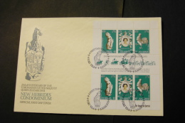 New Hebrides British Elizabeth II Coronation 25th Anniversary Sheet Of 6 With Day Of Issue Cancel 1978 A04s - English Legend