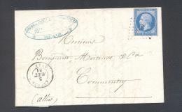 ALLIER 03 CERILLY Tad Type 15 Du 5 Aout 1861 PC 679 Sur N° 14 Type 2 TTB - Marcophilie (Lettres)