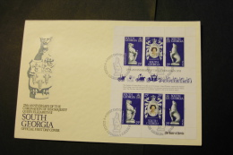 South Georgia Elizabeth II Coronation 25th Anniversary Sheet Of 6 With Day Of Issue Cancel 1978 A04s - South Georgia