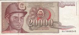 YOUGOSLAVIE -BILLET DE 1987 -THEMATIQUE MINEUR - 20000 DINARS - Yugoslavia