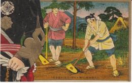 Japan Unknown Artist, Farmer Tills Soil, Military(?) Man Watches, C1900s Vintage Postcard - Illustrators & Photographers