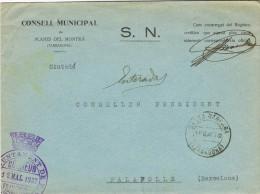 5313. Carta PLANES De MONTSIA (Tarragona) 1937. Franquicia Santa Barbara - 1931-50 Brieven