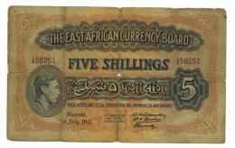 British East Africa, 5 Shillings, 1941, G. - Billets
