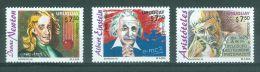 Uruguay 1996,  Albert Einstein, Aristotle, Isaac Newton, Mi 2192-2194 Sc 1627-1629 - Andere