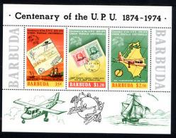 BARBUDA 1974, CENTENAIRE UPU, VOILIER, AVION, LETTRES SUR TIMBRES, 1 Bloc Neuf / Mint. Ref855 - Post