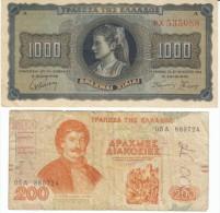 Lot Of 2, Greece #118 1,000 Drachmai 1942 & #204 200 Drachmas 1996 Banknotes Currency - Greece
