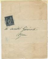 1 Ct N°83 Sur Imprimé D´AGEN  Du 28 Juillet 1884  Timbre Poste Intacte    Pas Déchiré - 1876-1898 Sage (Type II)
