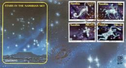 Namibia - 1996 Stars In The Namibian Sky FDC # SG 692-695 , Mi 819-822 - Astronomy
