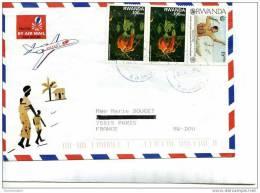 Enveloppe Avec 3 Timbres Et Collage Lamelles Bois - Artisanat Du Rwanda - Avion FALCON - 2 Scans - Rwanda