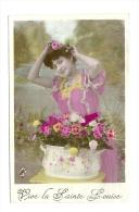 Cp, Femmes, Vive La Sainte Louise, Voyagée 1908 - Mujeres