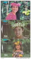Cook Islands, COK 3-5, 10, 20 And 50$, Ei Katu, Set Of 3 Mint Cards. - Cook Islands