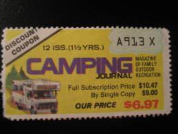 Mountaineering Hiking Mountain Camping Review News Magazine Coupon Discount Poster Stamp Label Vignette Viñeta US - Climbing