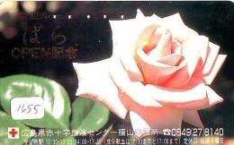 Telecarte Japon * Croix Rouge (1655) PHONECARD JAPAN * Red Cross * TELEFONKARTE * ROTES KREUZ * Rose - Advertising