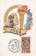 D13982 CARTE MAXIMUM CARD TRIPLE 1954 BRAZIL - TORCH FLAME ATHLETICS SPRING 1954 CP PHOTOCARD - Athletics