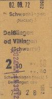 Schwenningen - Deißlingen Od. Villingen Am 2.9.1972 - 0,80 DM, Eisenbahn Fahrkarte, Ticket, Billet - Bahn