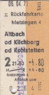 Metzingen - Altbach, Kilchberg Od Kohlstetten Am 6.4.1973 - 4,80 DM,  Rück-Fahrkarte - Europa