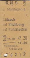 Metzingen - Altbach, Kilchberg Od Kohlstetten Am 7.1.1973 - 2,20 DM,  Fahrkarte - Europa