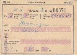 Memmingen Nach Ulm, Am 21.6.1973, 1 Person, 53 Km, 6,00 DM, Fahrkarte Von Hand Ausgestellt - Europa