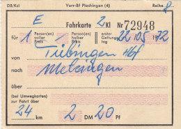 Tübingen Hbf - Metzingen, Am 22.5.1972, 1 Person, 24 Km, 2,20 DM, Fahrkarte Von Hand Ausgestellt - Bahn