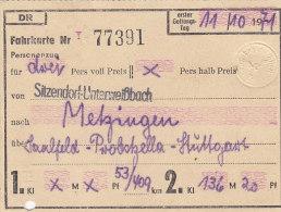 Sitzendorf-Unterweißbach Nach Metzingen, Am 11.10.1971, 3 Personen, 409/53 Km, 136,20 DM, Fahrkarte Von Hand Ausgestellt - Europa