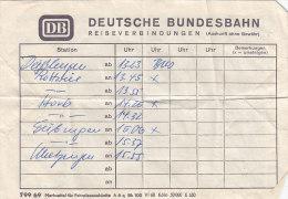 DB Fahrplanauskunft Von Deißlingen Nach Metzingen, Um 1972 - Europa