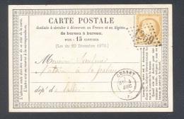 ALLIER 03 CUSSET Tad Type 17 Du 3 Décembre 1875 PC Sur N° 55   TTB - Marcophilie (Lettres)
