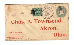 Nortonville Kansas 1903 Akron Ohio Complément D'Affranchissement Chas. A. Townsend - Vereinigte Staaten