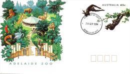 AUSTRALIA FDC ZOOS ADELAIDE BIRD PARROT BIRD GIRAFFE ANIMAL  PSE OF 45 CENTS DATED 28-09-1994 CTO READ DESCRIPTION !! - Cartas