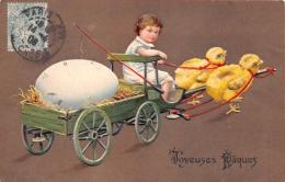 ¤¤  -  Carte Gauffrée  -  JOYEUSES PAQUES  -  Attelage De Poussins , Oeufs , Petit Garçon  -  ¤¤ - Pâques
