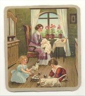 Image Sur Carton Fort - Jeu De Cubes, Enfants, Chats.(Mich2) - Fiches Illustrées