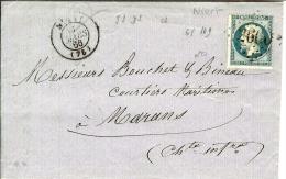 Lettre De Niort à Marans - 1849-1876: Période Classique