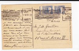 ESTONIE - 1922 - CARTE POSTALE Avec MECA De TALLINN Pour PARIS - Estonie