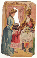 Chromo Découpis Gaufrée St Saint Nicolas Enfant Fillette Mère Jouets - Non Classés