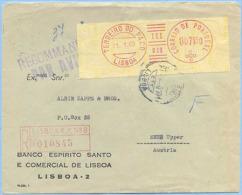 PORTOGALLO PORTUGAL 1960 AFFR. MECCANICA 7,50 BUSTA RACCOMANDATA AEREA 21.1.60 DA TERREIRO DO PACO AD ENNS (AUSTRIA) - 1910 - ... Repubblica
