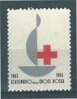 ERINNOFILO  CROCE ROSSA ITALIANA SENZA VALORE CENTENARIO 1863 - 1963 - Erinnofilia