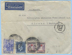 GRECIA 1937 BUSTA VIA AEREA PER GERMANIA 10.5.37 CON INTERESSANTE AFFRANCATURA MISTA (5860) - Grecia
