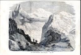 Les Deux Mulets, Mont Blanc      Gravure, Document    1859 - Vieux Papiers