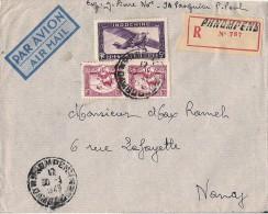 LETTRE RECOMMANDE DE PHNOMPENS DE 1949 AVEC TP NO 163 ET 13 A - Indochina (1889-1945)