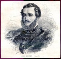 Louis Kossuth          Gravure, Document    1859 - Vieux Papiers