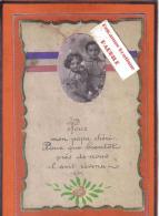 Carte Postale Militaria  Fantaisie Ruban Bleu Blanc Rouge Avec Photo Trés Beau Plan - Guerre 1914-18