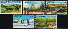 Lesotho 1970 5 V MNH Tourism Fishing Skiing   Horses Horse Chevaux Cheval Caballos Cavali Pferde Paarden - Hotels, Restaurants & Cafés