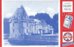 """La Pile  """"  MAZDA   """"   Château St - André D' Hébertot  ( Calvados ) Voir  Verso     - Ft  =  13 Cm  X  21 Cm - Electricité & Gaz"""