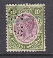 """BRITISH HONDURAS: GEORGE V, 1922, 10c, Revenue Manuscript Used; PERFIN """"37"""", - Honduras Britannique (...-1970)"""