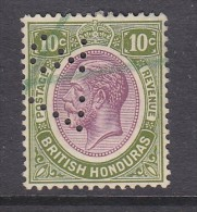 "BRITISH HONDURAS: GEORGE V, 1922, 10c, Revenue Manuscript Used; PERFIN ""37"", - British Honduras (...-1970)"