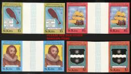 ST.KITTS 1985 CPTN DRAKE / CHRISTMAS Imperf=nonDENTELE  GUTTER PAIRS SC#173-76 MNH SHIPS PIRATES - Explorers